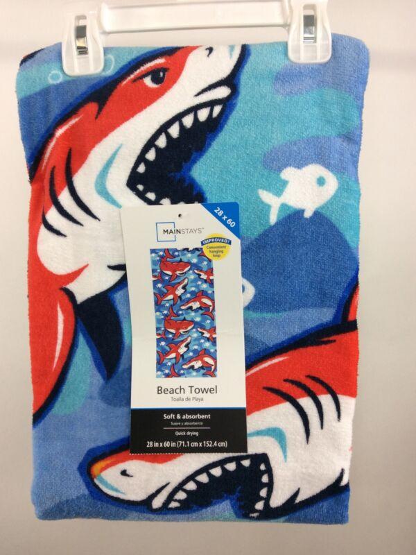 "Mainstays Beach Towel 28X60"" Red, White, Blue Sharks"