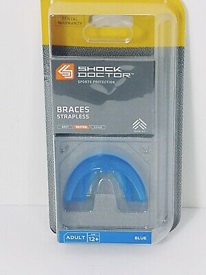 Shock Doctor Adult Braces Strapless Mouthguard Blue, 4100A