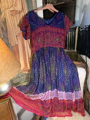 70's Vintage Indian Bohemian Sheer Dress. Lined. 42bx47lgth