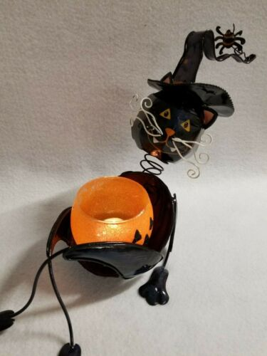 Halloween Decoration Metal & Glass Cat Witch Votive or Tealight Candle Holder