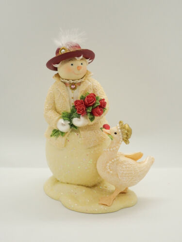 2003 Demdaco Promenade Figurine Snow Woman and Goose Winter Flowers Pearls