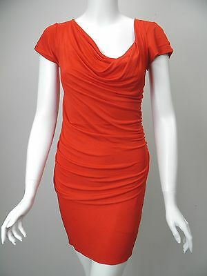 BLACK HALO Cherry Red Silky Jersey Cowl Neck Draped Front Dress sz S Cowl Front Jersey Dress