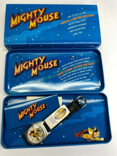 Fossil 1994 Mighty Mouse Character Watch New In Box Complete Working No Reserve