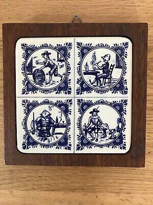Vintage Delft Tile with Wooden Surround Depicting Men