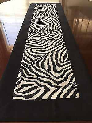 Waverly Wildlife Black & White Zebra Animal Print Table Runner by ThemeRunners
