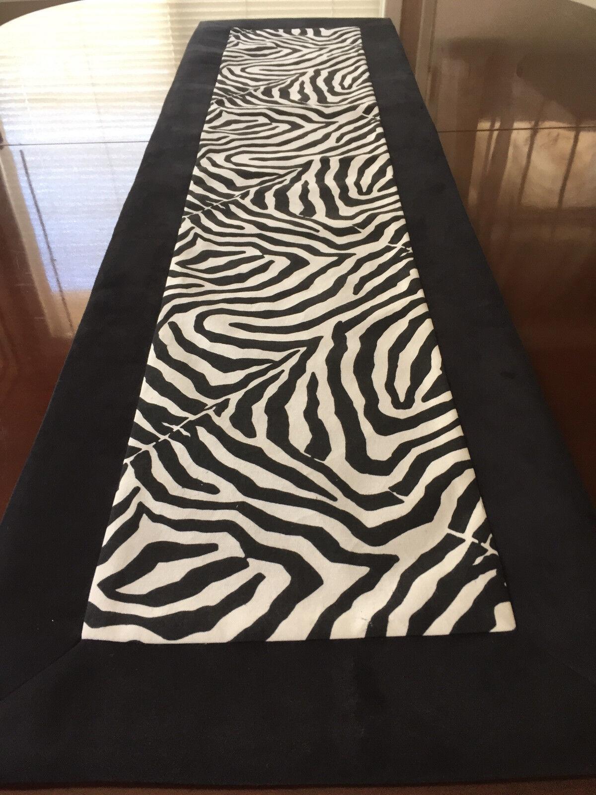 Waverly Wildlife Black & White Zebra Animal Print Table Runn