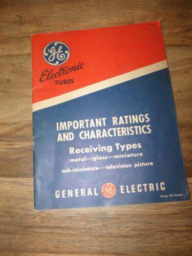 Original 1948 GE Electronic Tubes Important Ratings & Characteristics Book
