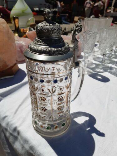 Glas bierkrug mit deckel