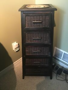 Wood and Wicker Tower Storage Unit