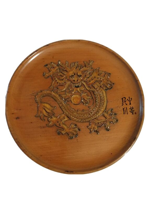 """Wood carved Dragon Round Wall Hanging/ Plaque 9.5"""""""