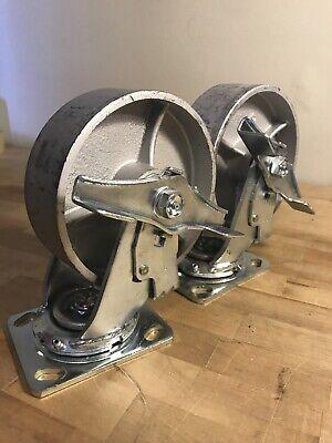6 Heavy Duty Steel Plate Cast Iron Casters Swivel Metal Industrial Wheel Pair
