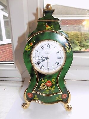RARE VINTAGE SWISS LOOPING LACQUERED MUSICAL ALARM 8 DAY 15 JEWELS MANTEL CLOCK