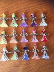 Kit to make 15 Silver Angels Frosted Flower Bead Filigree Beadcap Wings Charms