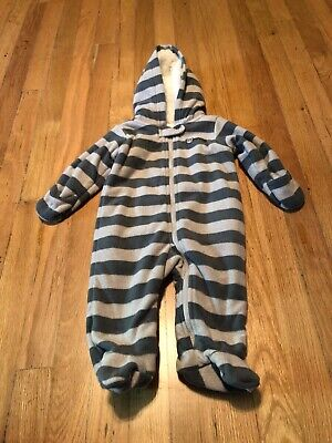 Carter's Gray Striped Fleece Lined Full Body Coat Size 6 Months - Carters Striped Body