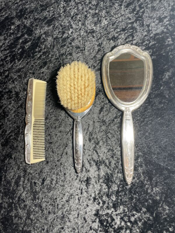 Sterling Mirror, Brush & Comb - Marked STERLING 925 Handmade Italy
