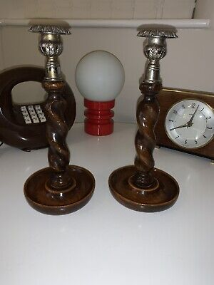 Vintage Barley Twist Wooden Candlesticks With Chrome Holder