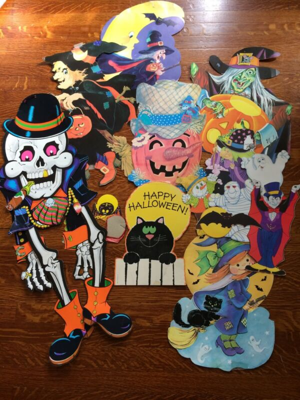 Vintage Halloween Wall Decorations Paper Lot Hanging Die Cut Beistle 14 Art USA