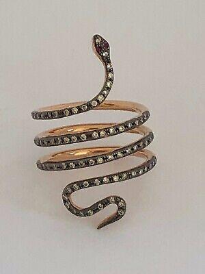 Ileana Makri Single Python Ring / Diamonds / Barneys / Size 7