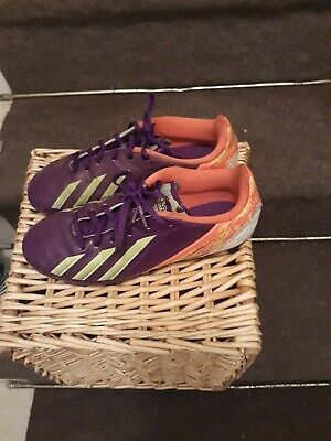 Adidas F5 FG Boys Youth Soccer Cleats Size 4 Purple Orange
