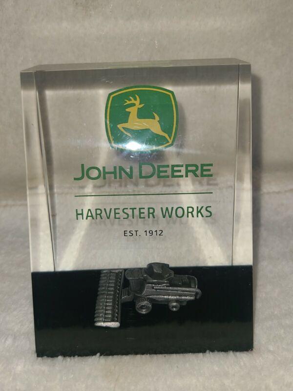 "John Deere ""HARVESTER WORKS"" ACRYLIC Paperweight;"" RARE"""