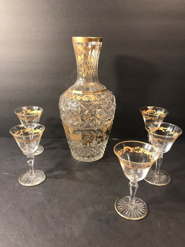 Antique Diamond Cut Crystal Water Decanter+ 5 Liqueur Glass/ France C.1900/ Gold