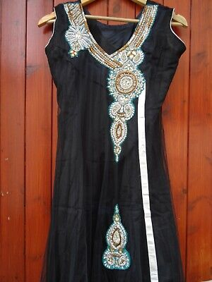 INDIAN PARTY WEDDING STITCHED DRESS PAJAMI FROK SUIT BEADS THREAD WORK BLACK