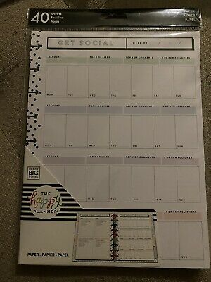 The Happy Planner Get Social Planner Page Refill- 40 Sheets