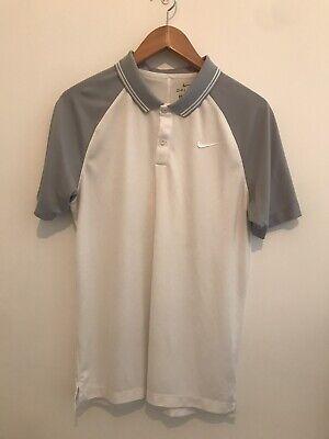 Mens Nike Golf Polo White & Grey Size Small