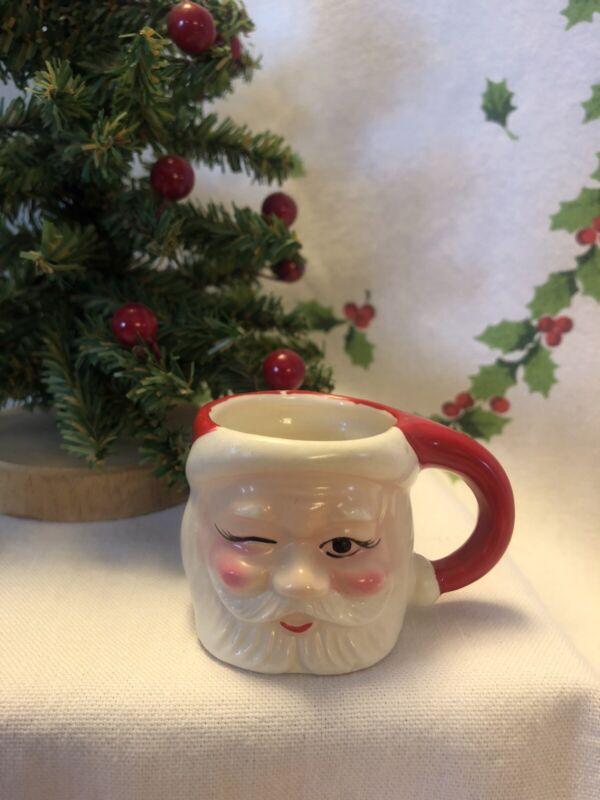 """Vintage Winking Santa Mini Ceramic Mug 1 1/2 """" Japan"""