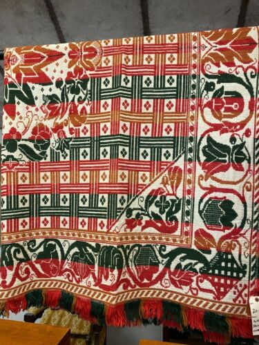 Jacquard Coverlet Modern Bed Cover or Throw in Red, Cream, Black & Orange