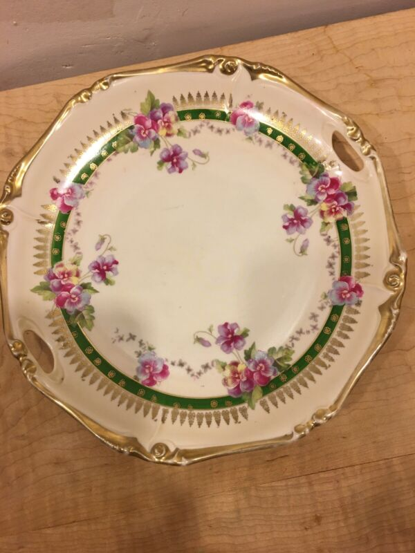 Antique Plate Gold Trim / Pansy No Markings