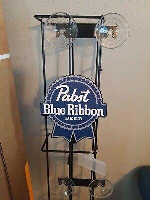 Pabst Blue Ribbon beer can rack sign game room man cave fridge cooler PBR