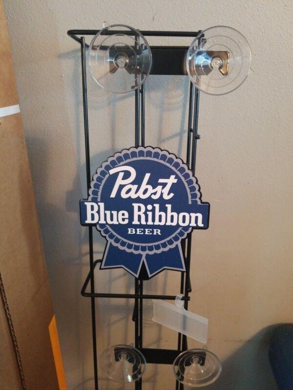 Pabst Blue Ribbon beer single can serve metal rack game room fridge cooler PBR