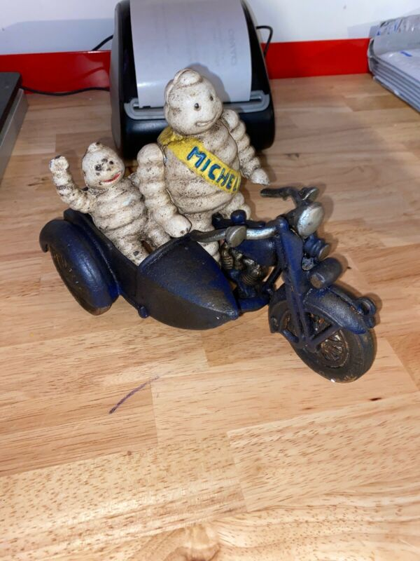 Michelin Tire Man Motorcycle Toy Side Car Solid Cast Iron Metal Texaco Sinclair