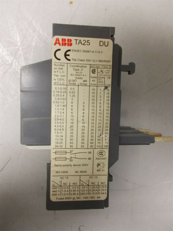 ABB TA25 DU Overload Relay 7.5Amp to 11Amp