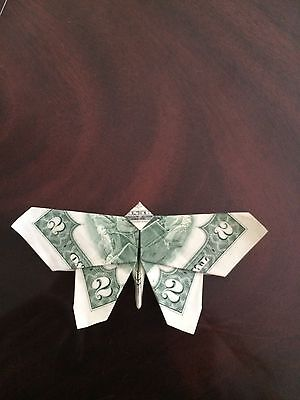 $2 Bill Money Origami BUTTERFLY - Dollar Bill Art - Made with $2.00 Cash
