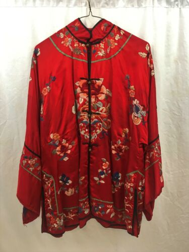Chinese Embroidered Robe or Jacket. Red Silk. Early 20th century.