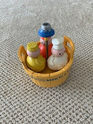 Vintage 1970's Fisher Price 3 Men In A Tub Baby Bath Toy Complete