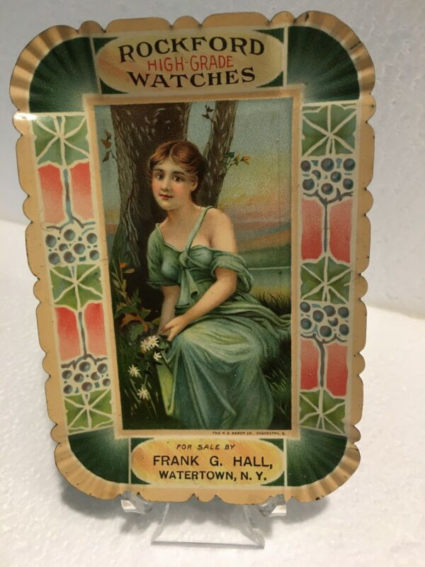 ROCKFORD WATCHES ADVERTISING TIP TRAY FRANK G HALL WATERTOWN NEW YORK