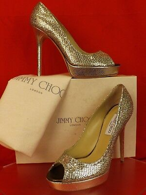 NIB JIMMY CHOO CROWN CHAMPAGNE GLITTER FABRIC PEEP TOE PLATFORM  PUMPS 40.5