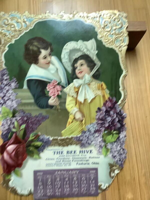 1905 Diecut Calendar Beehive Fostoria Ohio Victorian Embossed INV-V001
