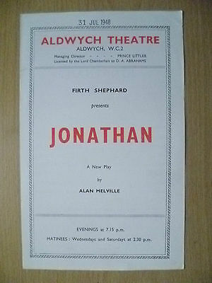 Aldwych Theatre Programme 1948- JONATHAN by A Melville