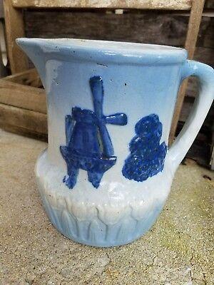 "1800s ANTIQUE PITCHER Blue & White SALTGLAZED STONEWARE CROCK Vase Windmill 7"""