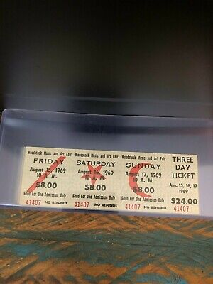 ONE Unused WOODSTOCK 1969 FULL TICKET 3 Day Damaged/Faded ONE TICKET