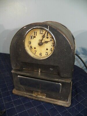 Vintage Simplex Time Recorder Keeper Punch Clock Record With Key Time Card