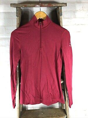 Icebreaker Bodyfit 200 Pink Merino Wool 1/4 Zip Pullover Women's Small S