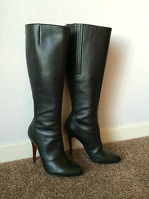 AUTH CHRISTIAN LOUBOUTIN KNEE HIGH BLACK LEATHER BOOTS Sz 40 IT / 8.5- 9 US