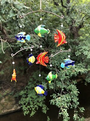 Very Colorful Vintage Hand Blown Tropical Fish/Mobile