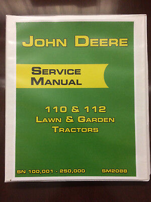 John Deere 110 112 Lawn Garden Tractors Sn 100001 - 250000 Service Manual