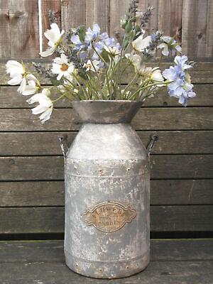 Large Antique Vintage Style French Grey Metal Milk Churn Garden Planter Vase NEW